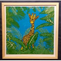 Affiche girafe dans la savane