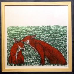 Affiche les deux renards